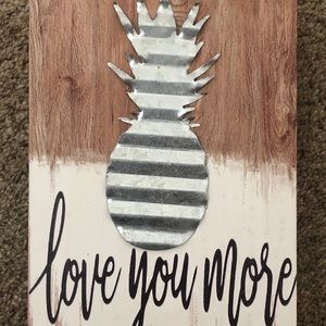 """Pier 1 Imports """"Love You More"""" Metal Pineapple Art"""